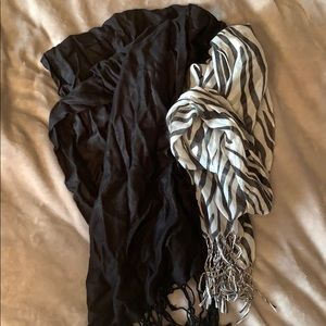 Black and zebra scarves
